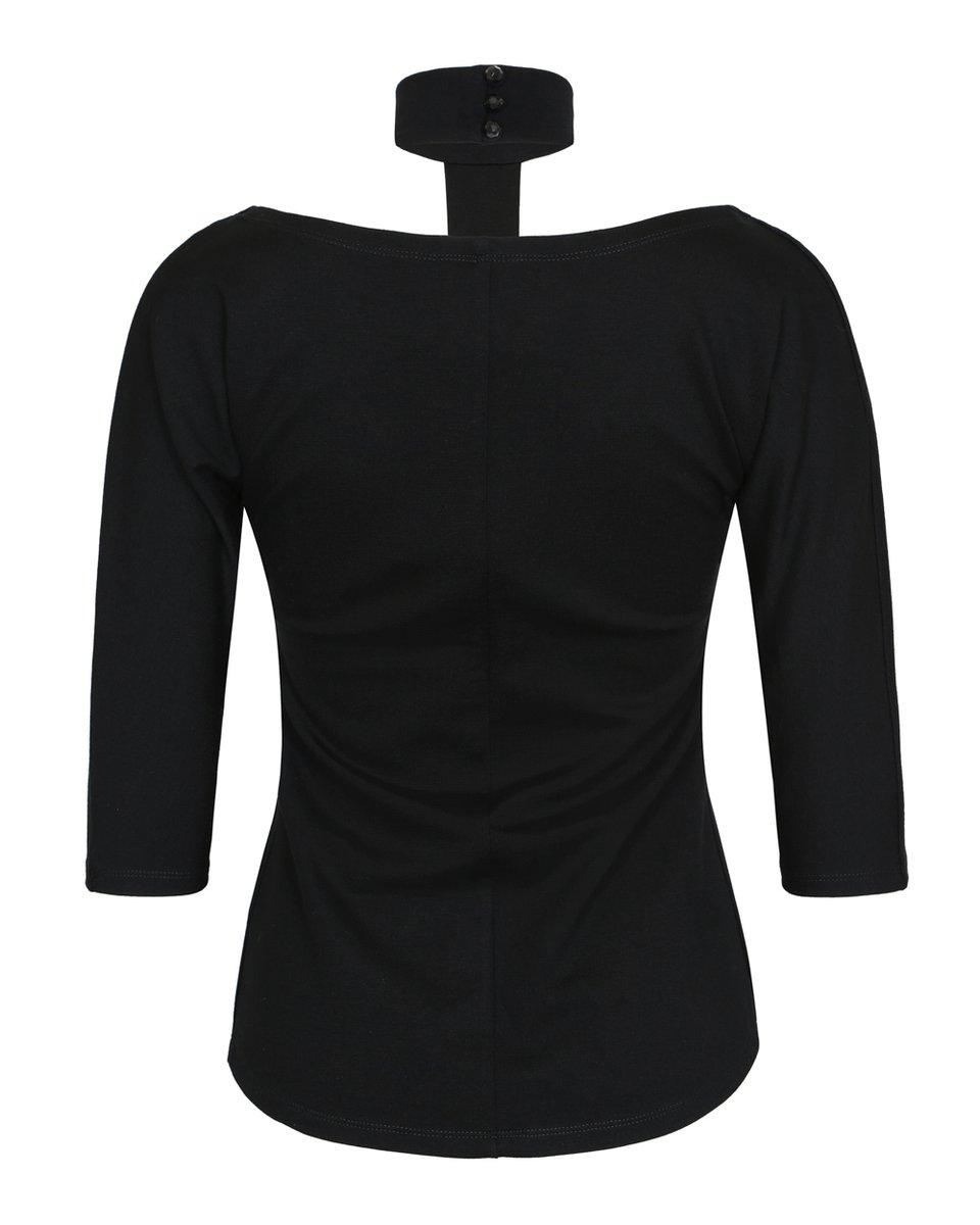 Трикотажная блуза с Т-образным воротником стойкой