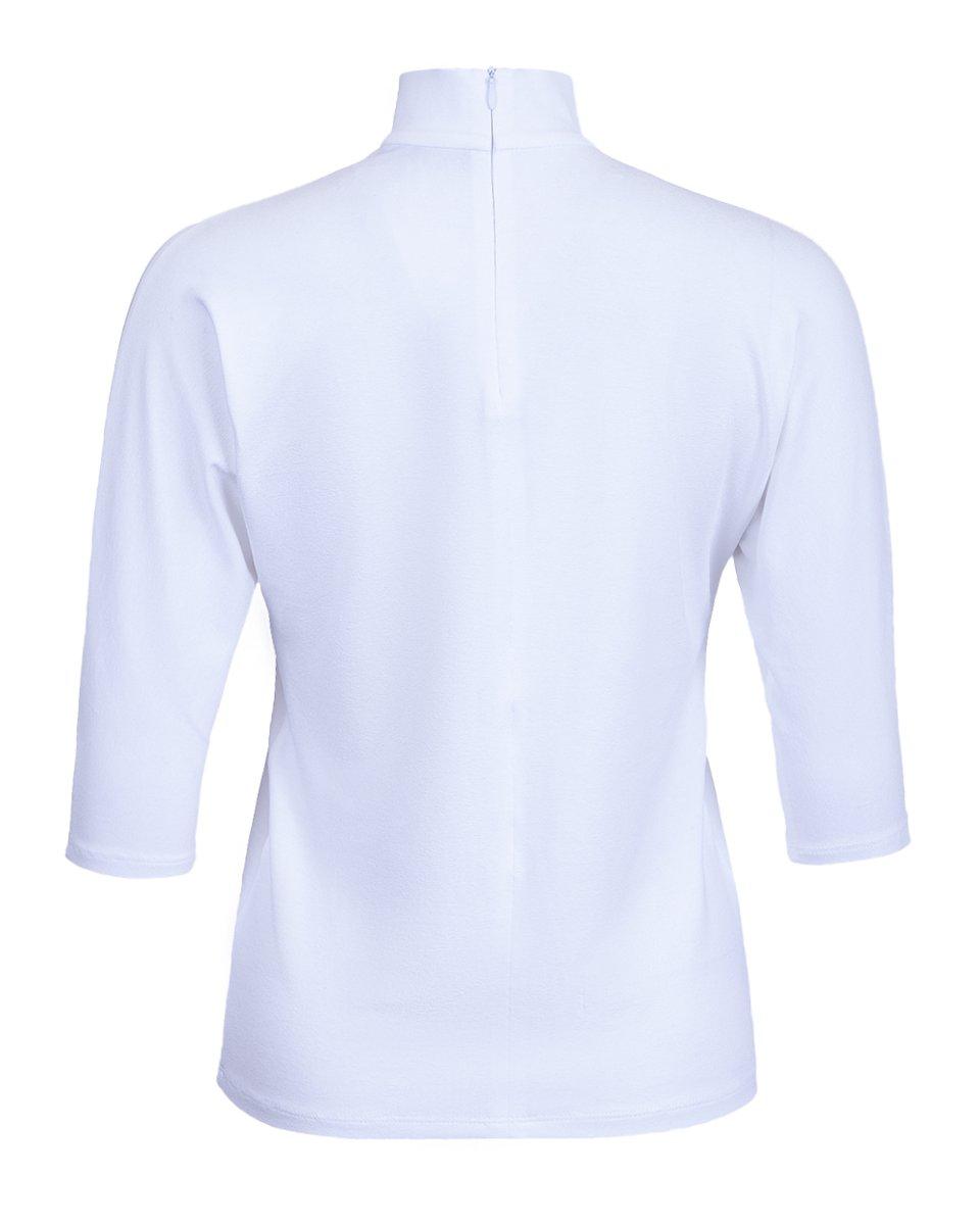 Блуза с воротником стойкой и V-образным вырезом, белого цвета