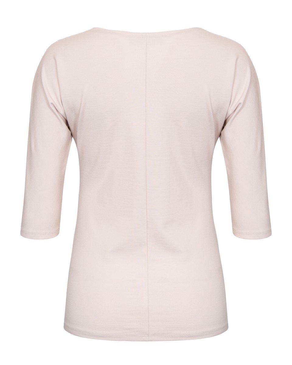 Блуза трикотажная с вырезом-лодочка, светло-бежевого цвета