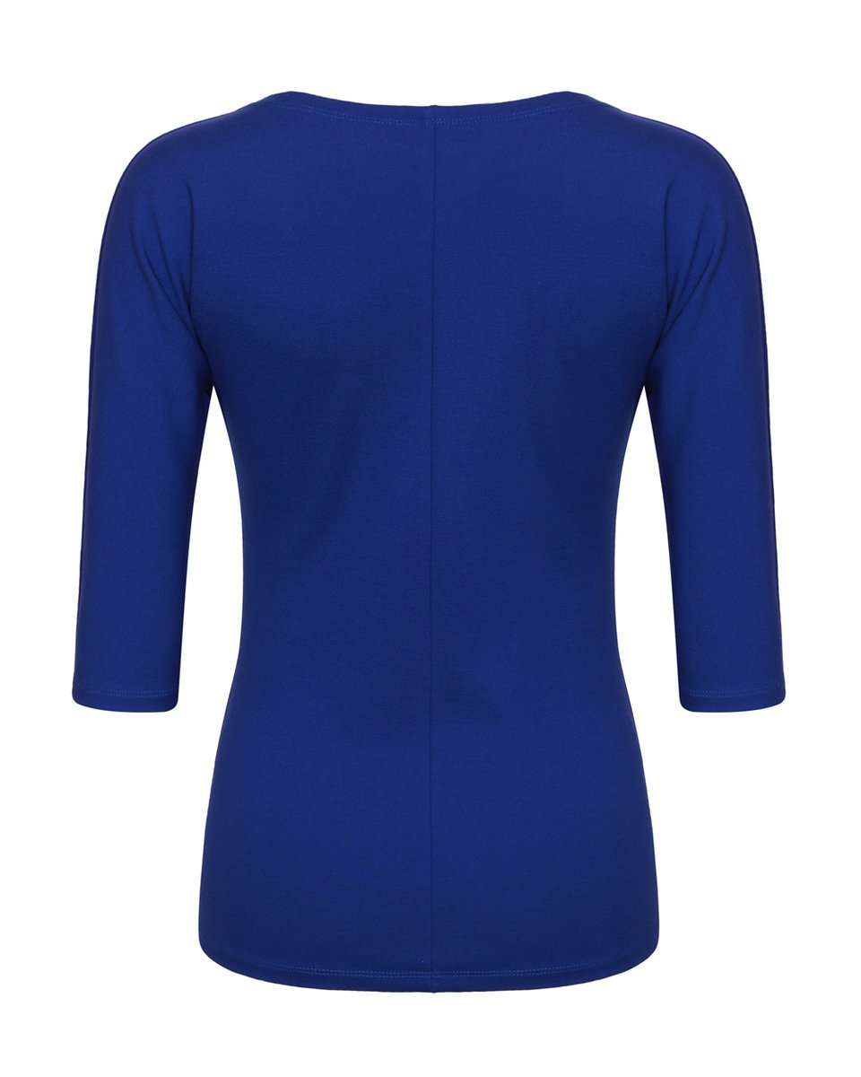 Блуза трикотажная с вырезом-лодочка василькового цвета