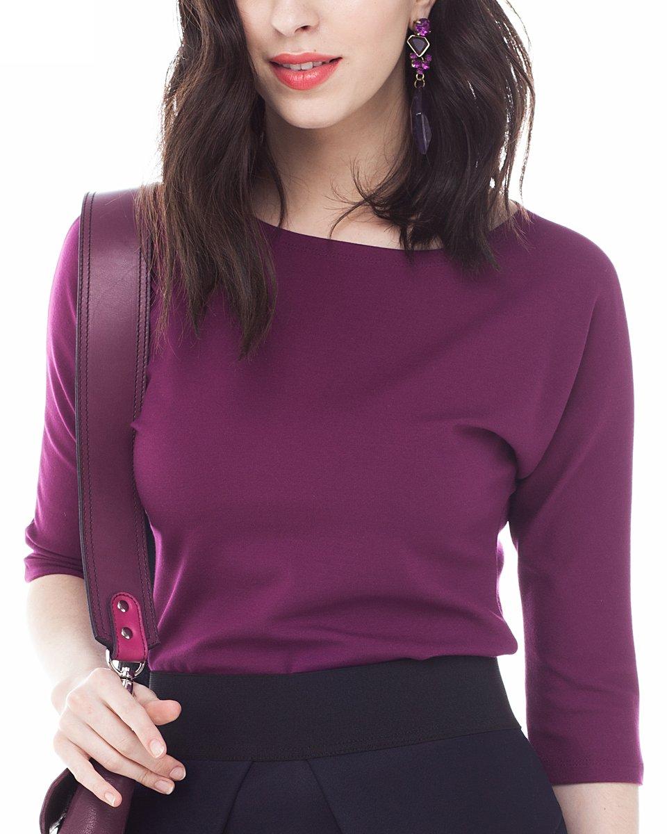 Базовая блуза с вырезом лодочка