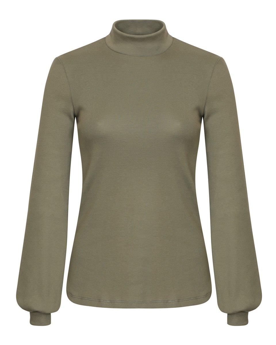 Блуза трикотажная цвета хаки с объемными рукавами