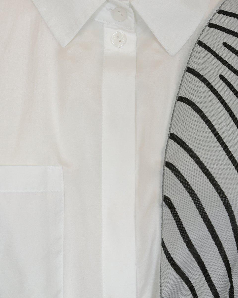 """Блуза удлиненная  с рисунком """"отпечатки пальцев"""", белого цвета"""