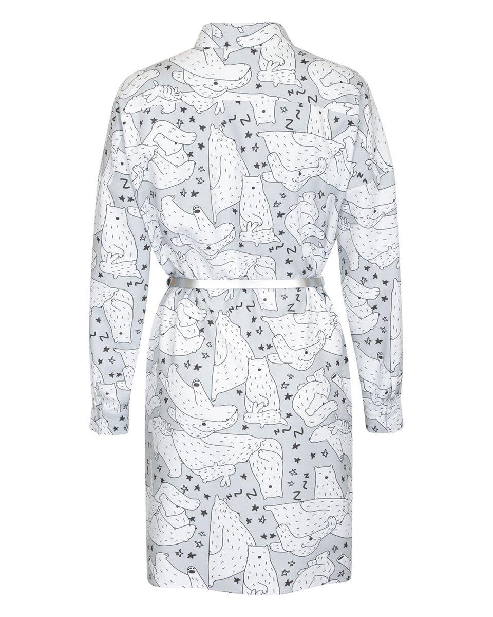 Блуза прямого силуэта с принтом «медведи»