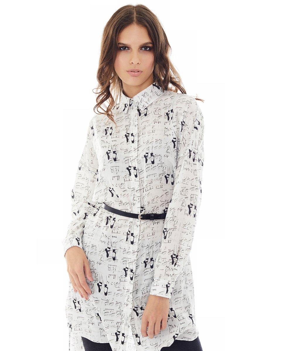 """Блуза прямого смлуэта с принтом """"ноты"""""""