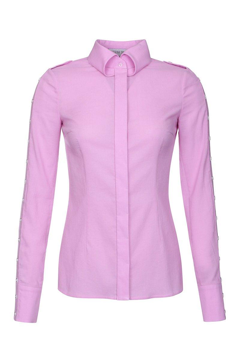 Блуза приталенная из тонкой фактурной ткани