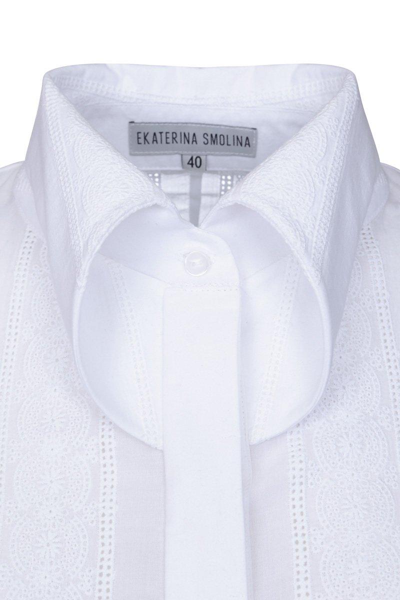 Блуза из хлопка с воротником сложного кроя
