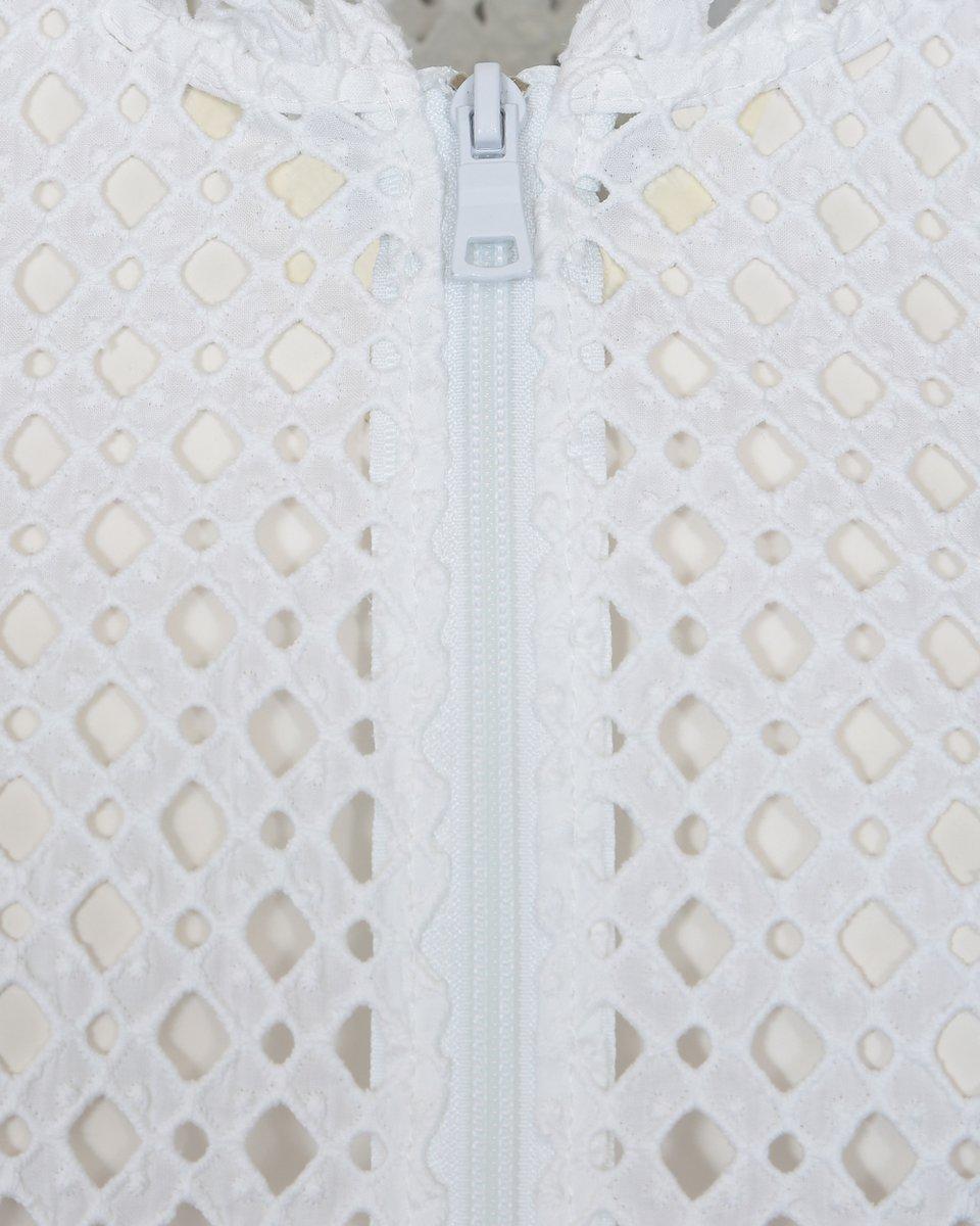 Бомбер с шитьем белого цвета