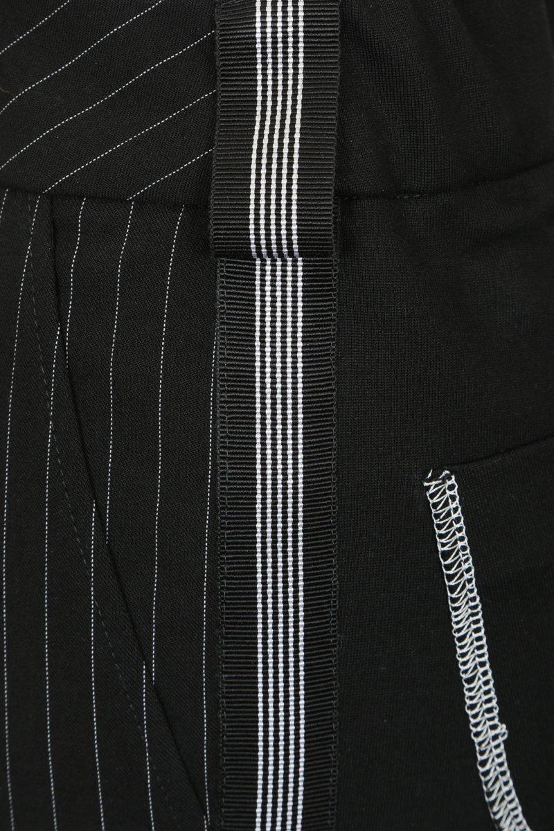 Брюки со стрелками из комбинированной ткани