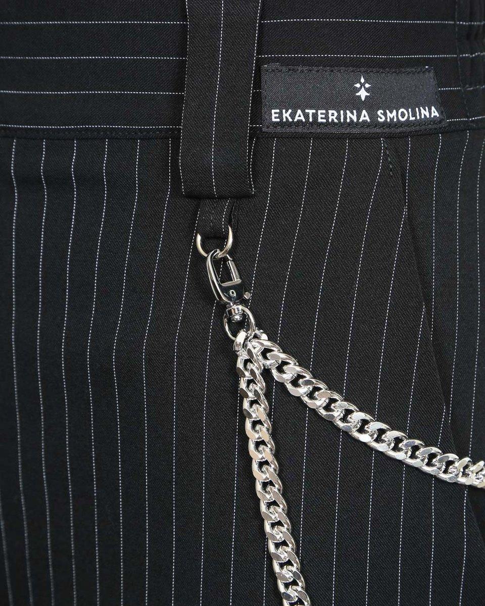 Брюки с серебристой цепью