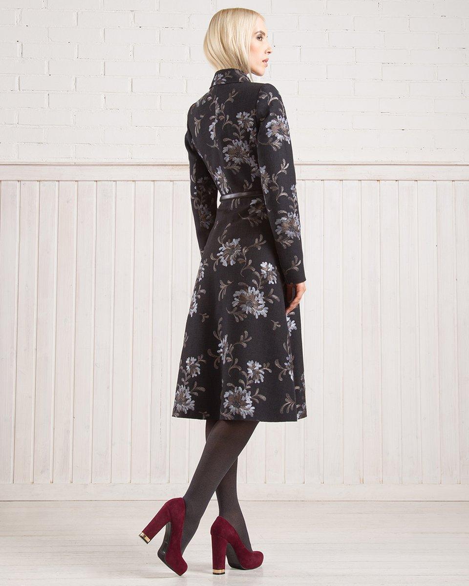 Демисезонное пальто с вышитыми цветами, черно-коричневое.