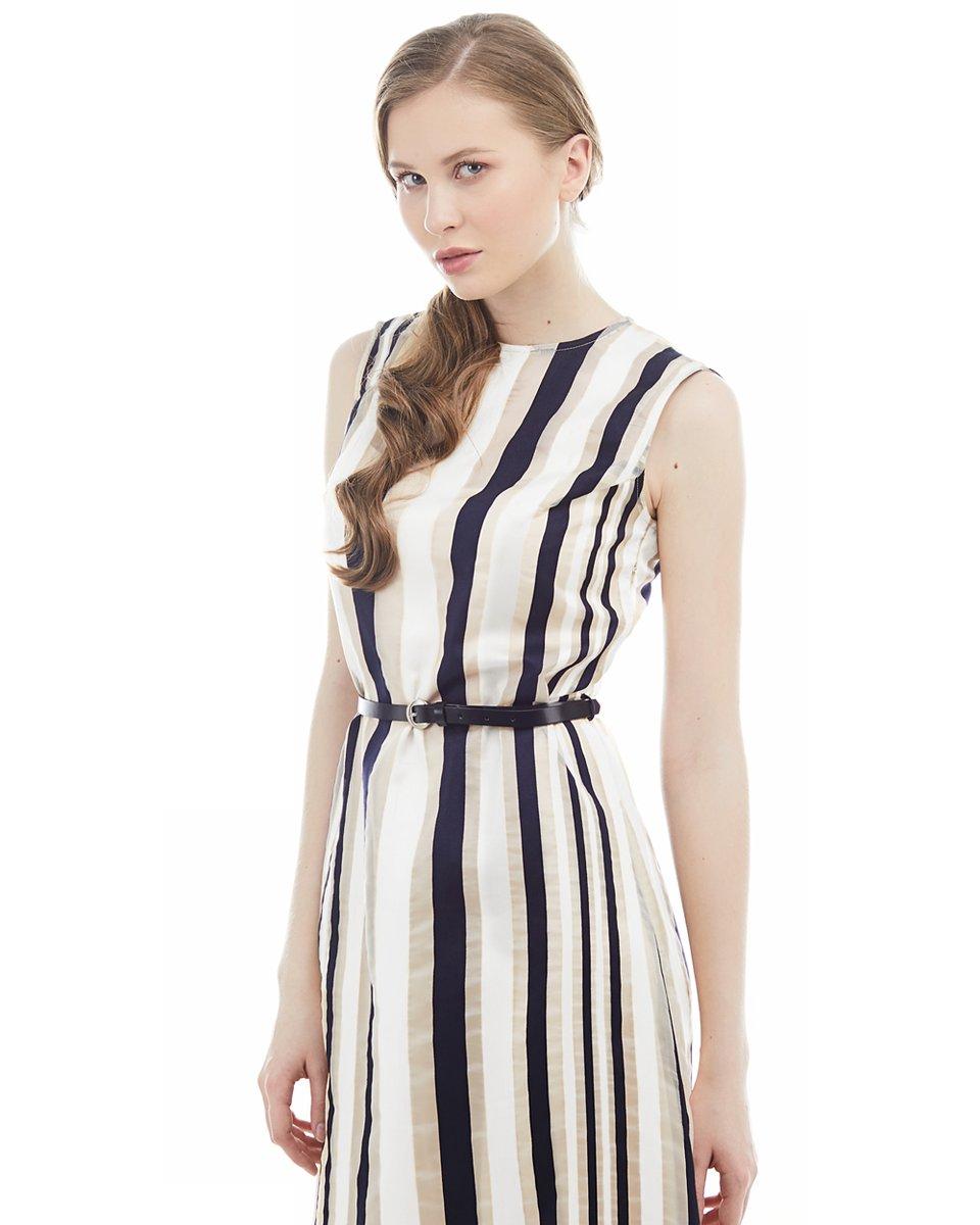 Платье из органзы в полоску, с юбкой-воланом