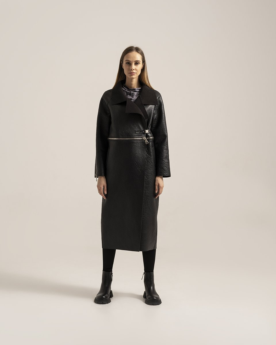 Пальто-дубленка из экокожи