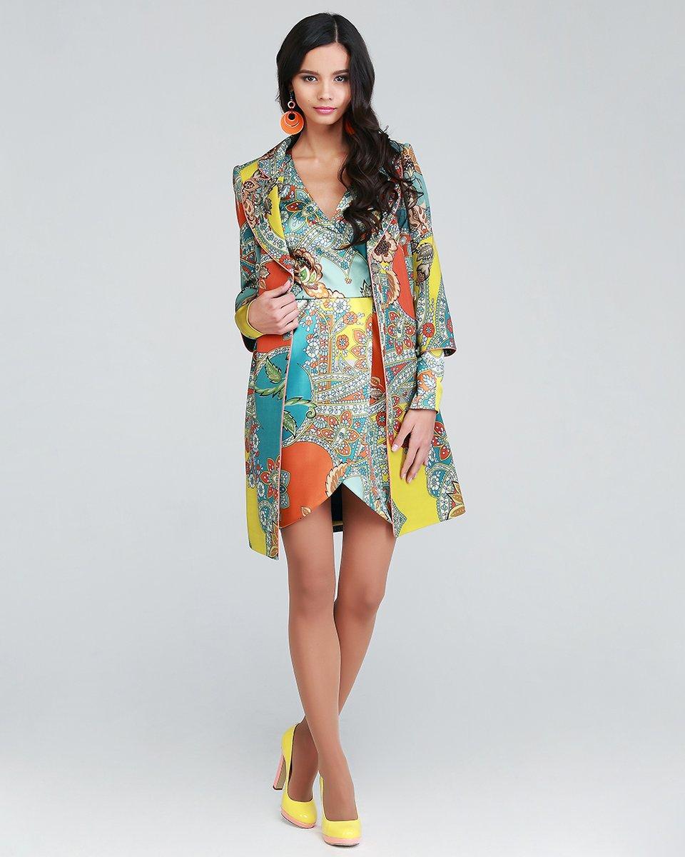 Двубортное пальто из тонкой шерсти с ярким принтом