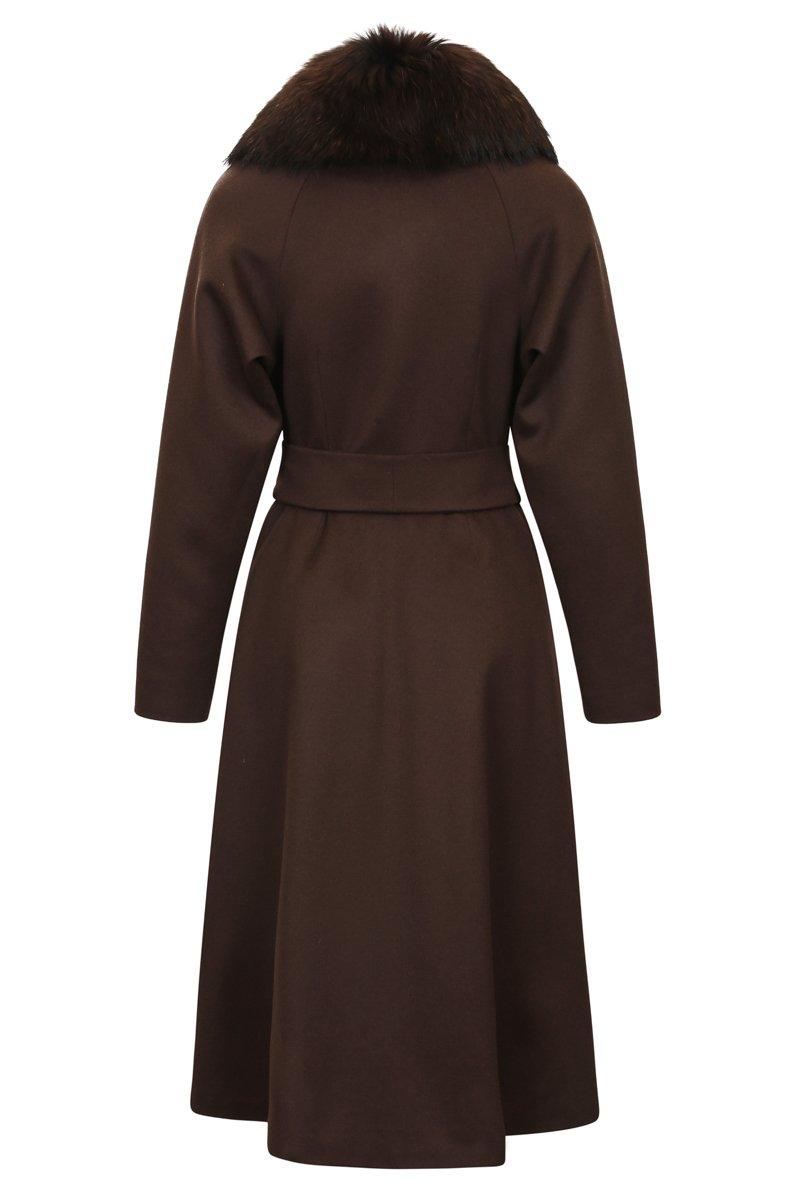 Зимнее пльто с юбкой-солнце коричневого цвета