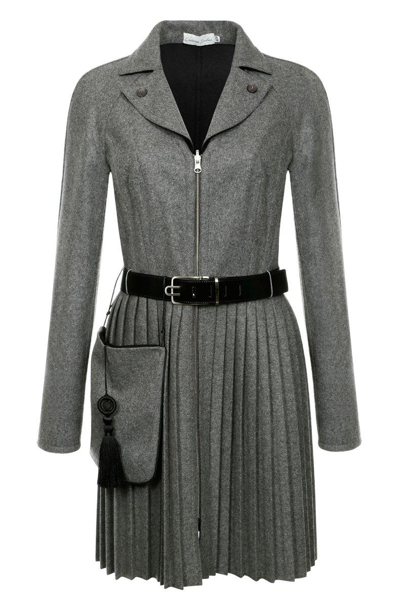 Двустороннее пальто с юбкой-плиссе