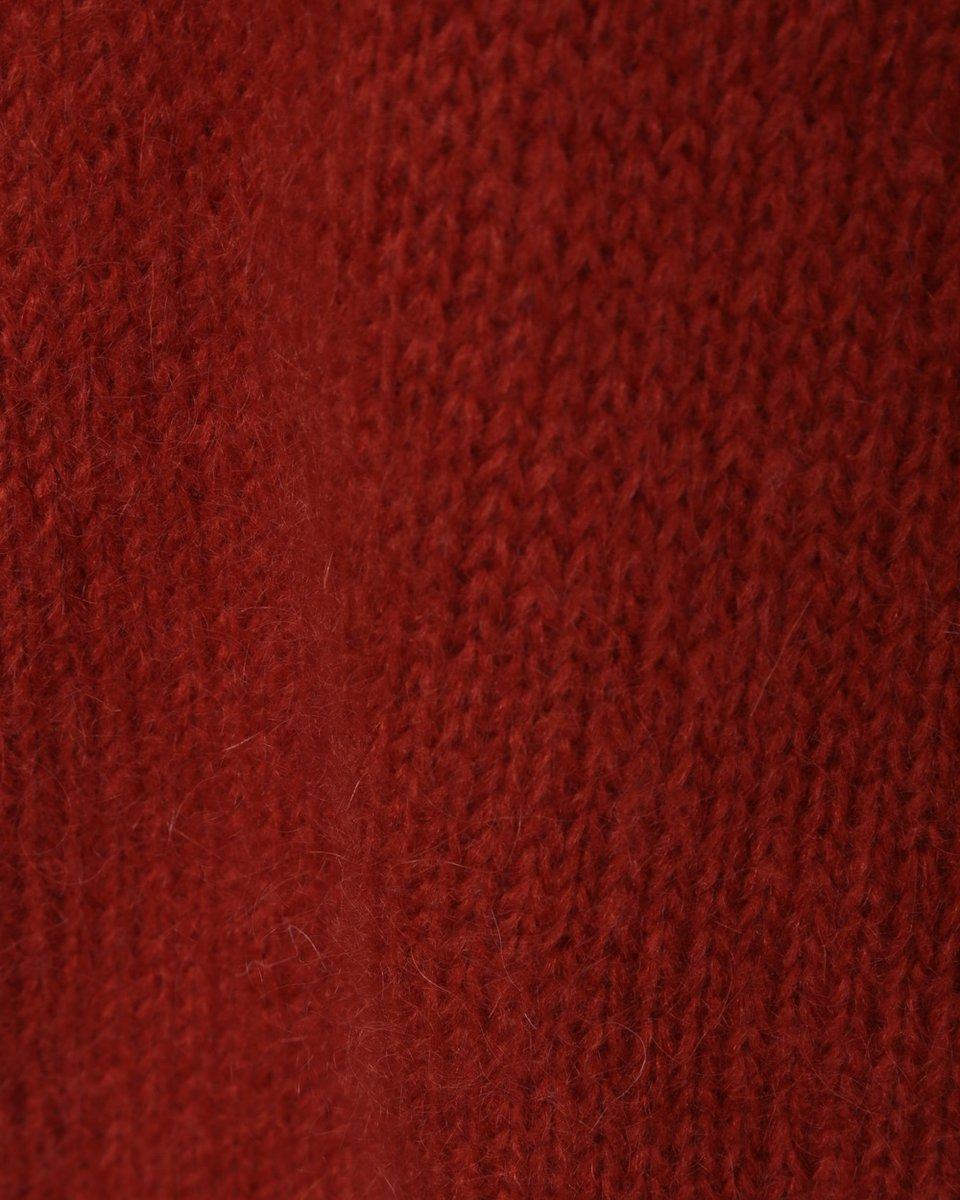 Джемпер из мохера с отделкой люрексом, оранжевый