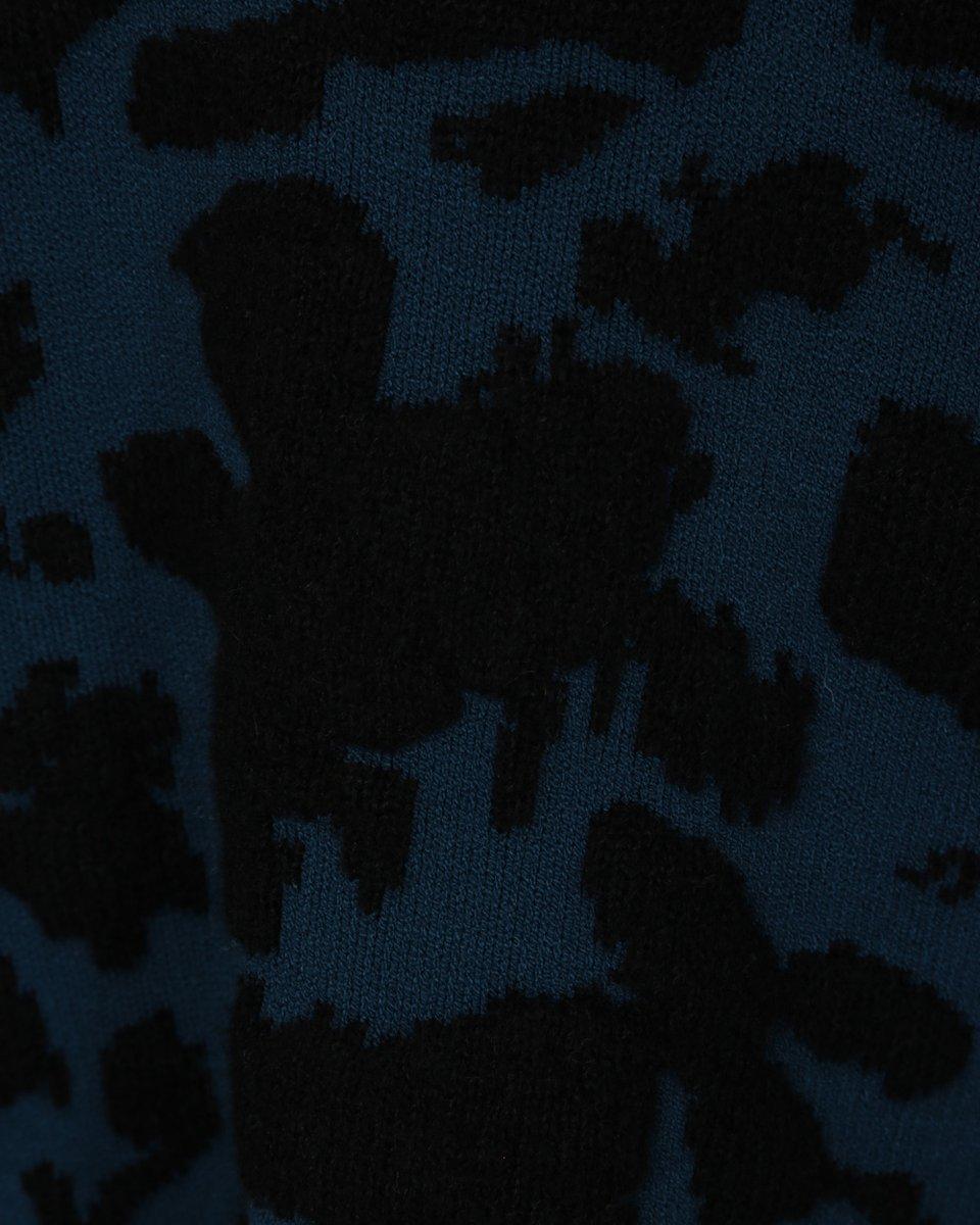 Джемпер из вискозы с абстрактными вставками, синий