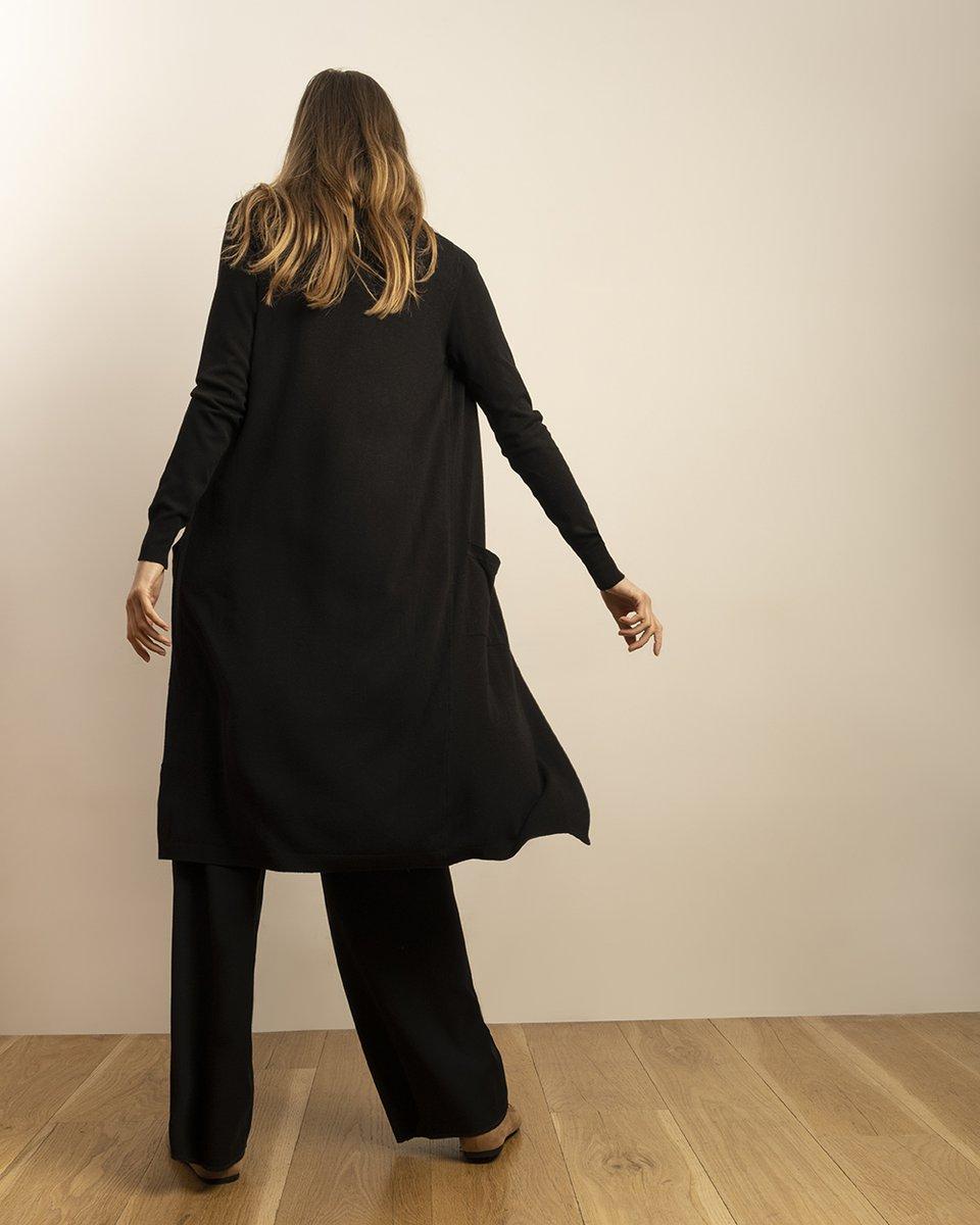 Кардиган черного цвета с накладными карманами