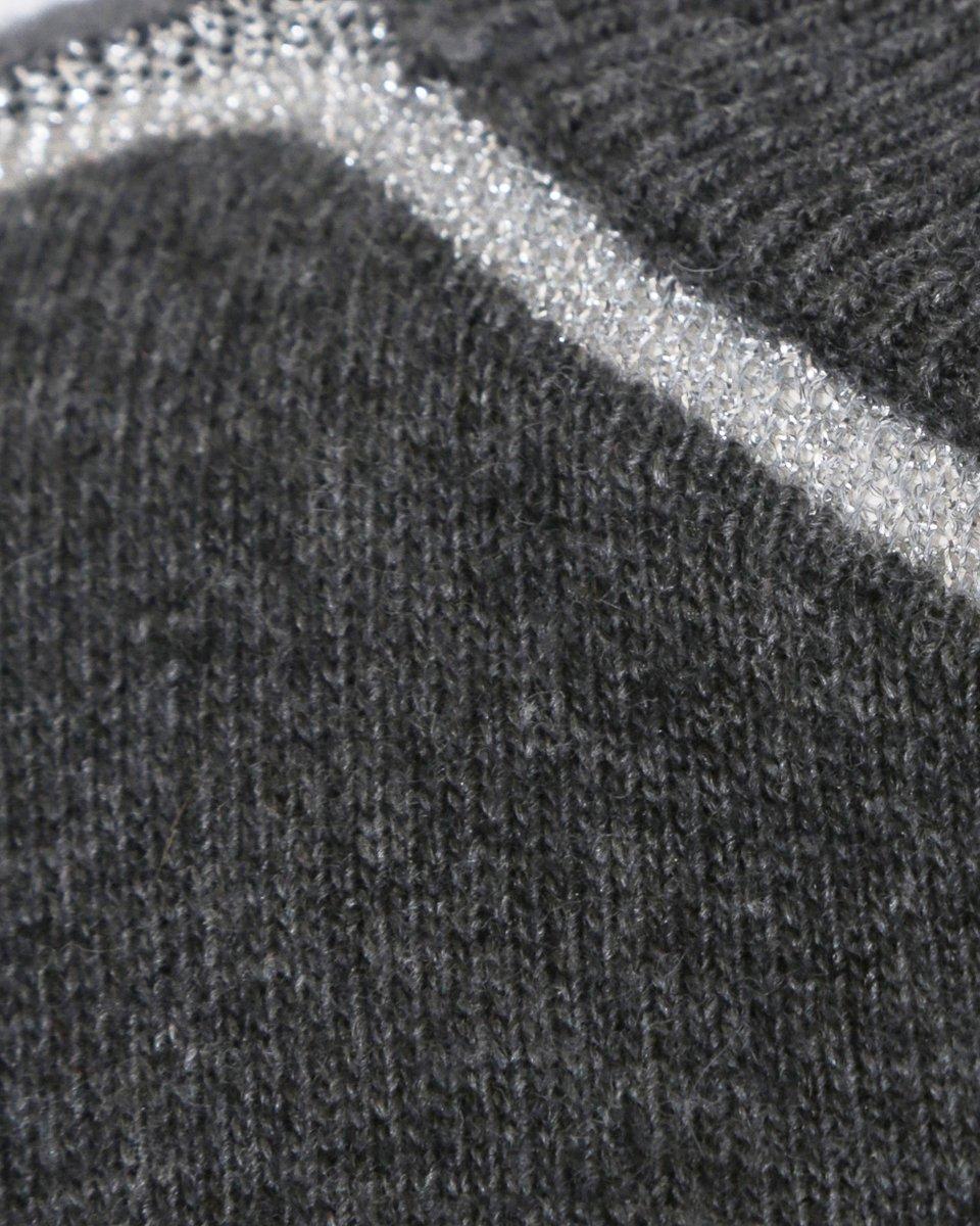 Джемпер графитового цвета с отделкой из люрекса