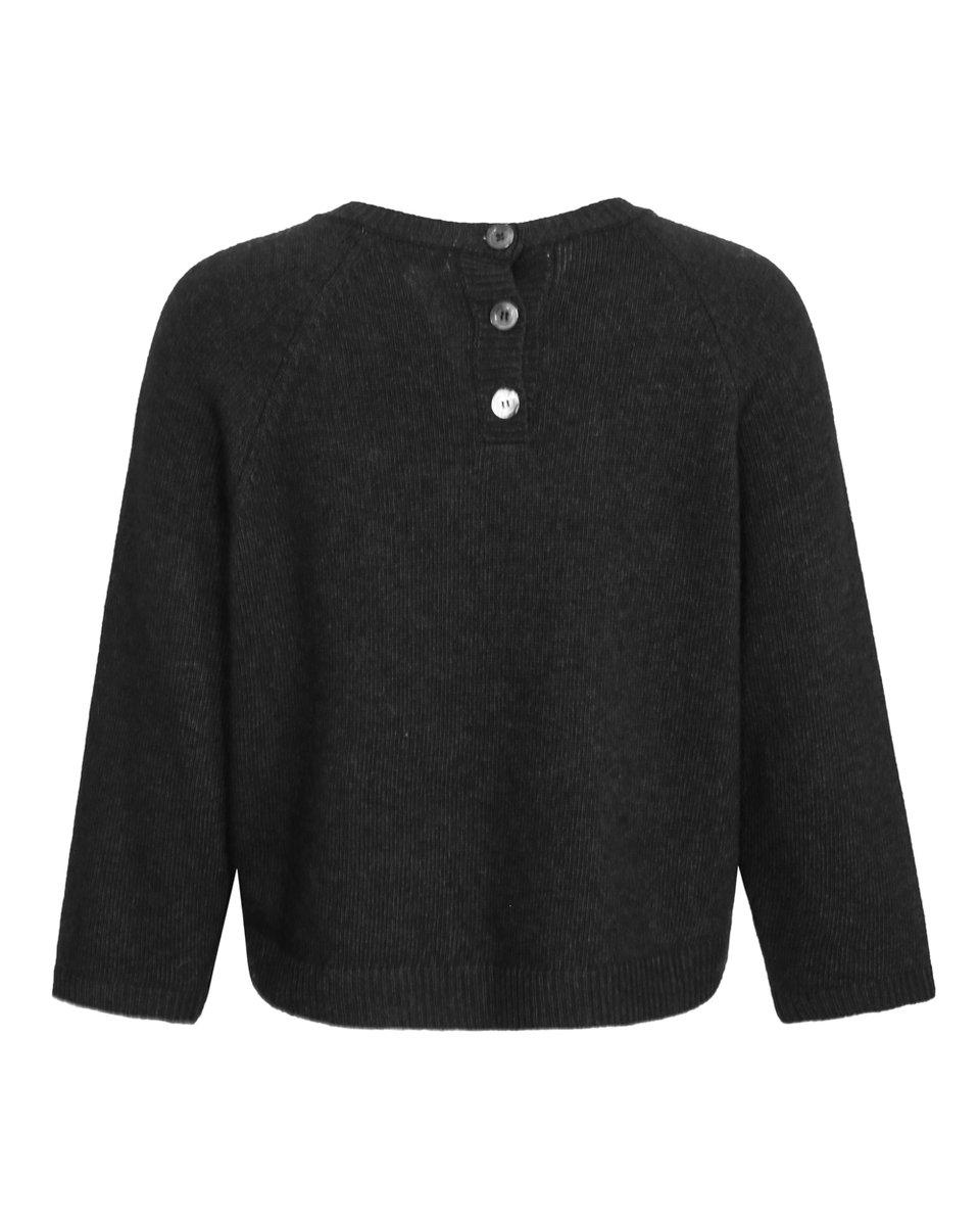 Джемпер укороченный из шерсти и кашемира, графитового цвета