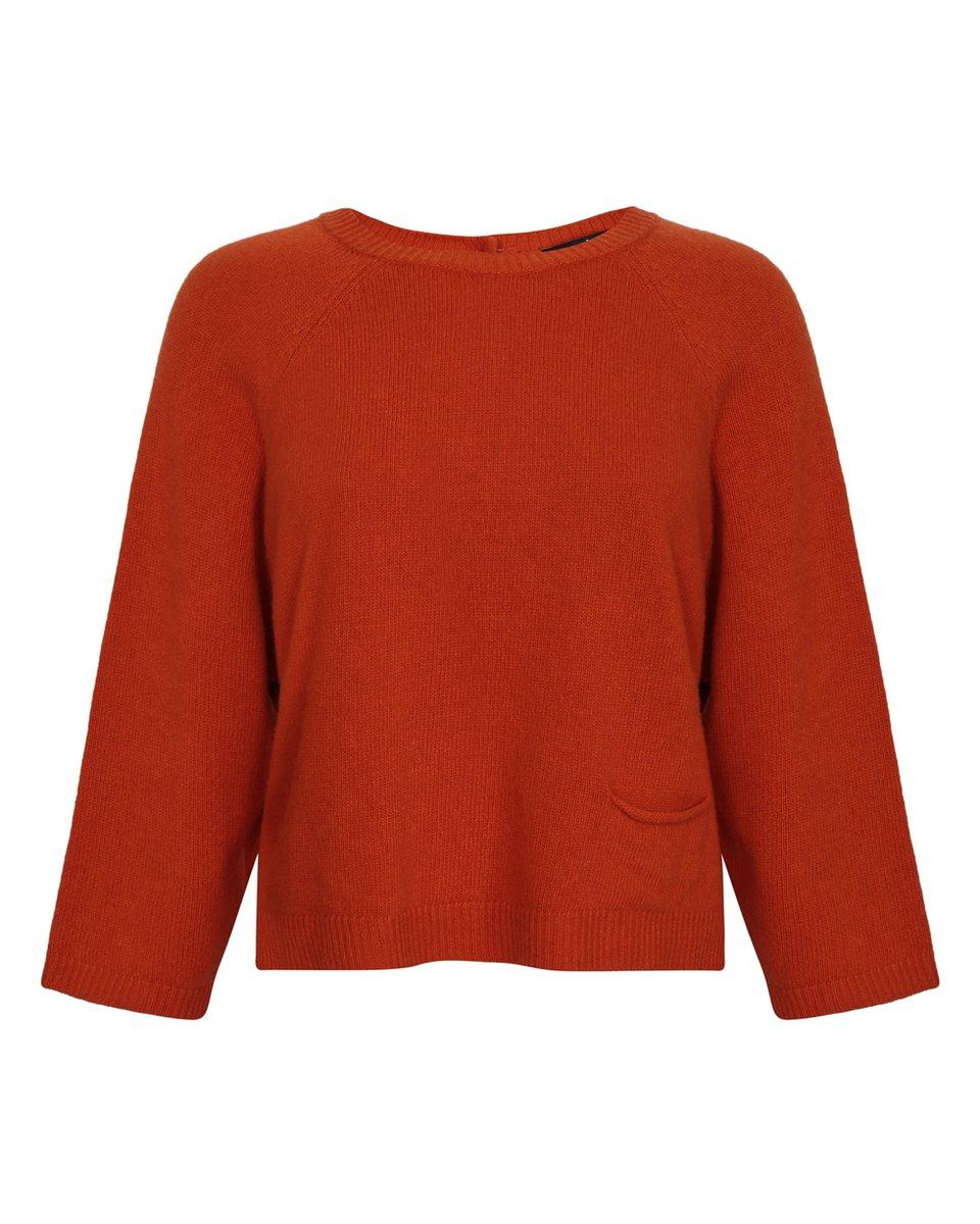 Джемпер оранжевого цвета с накладным карманом