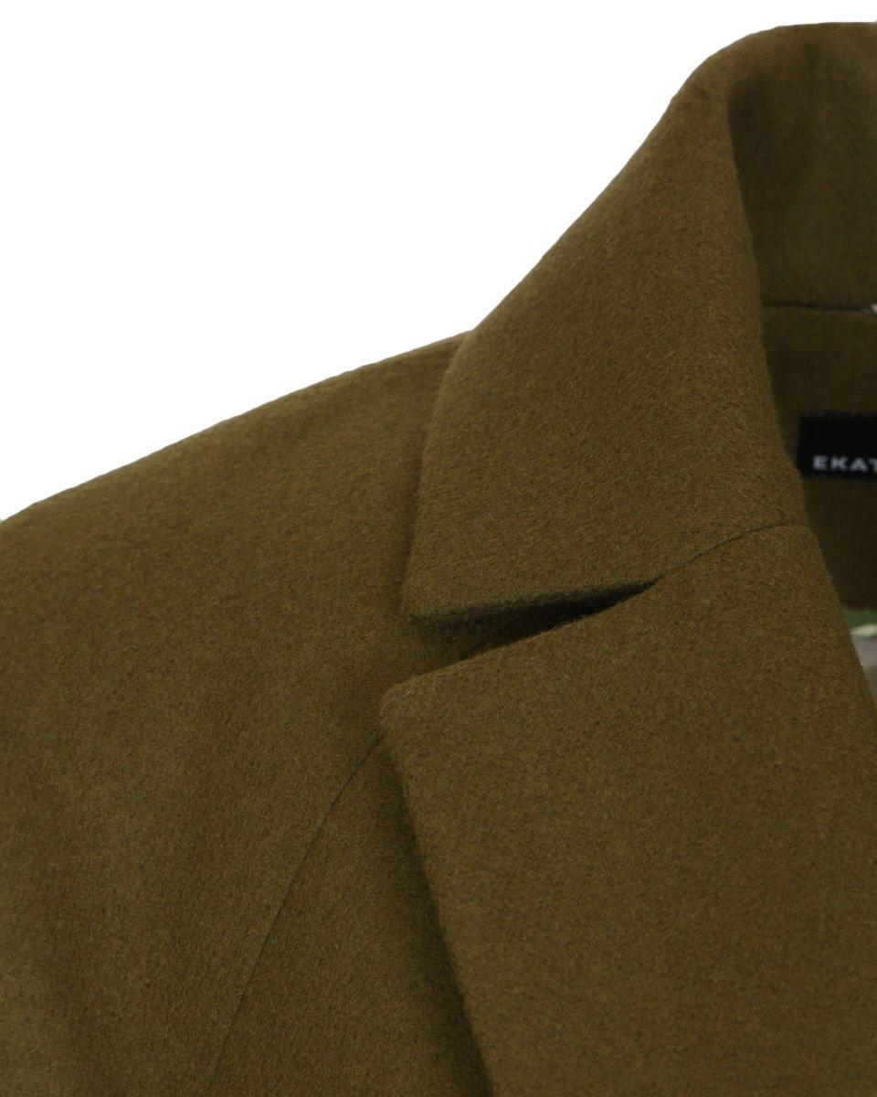Кардиган цвета хаки драпированный лацканами