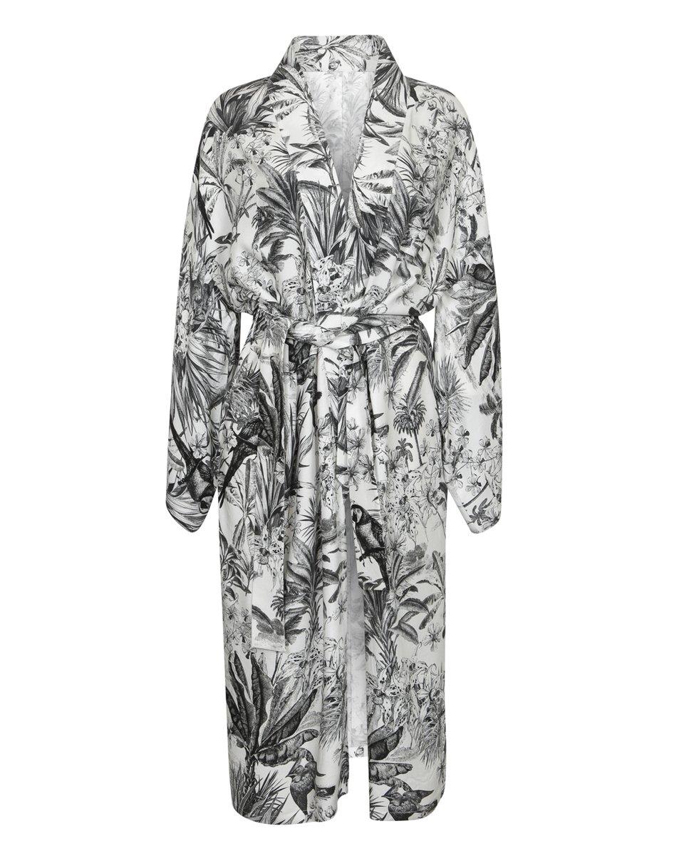 Кимоно с черно-белым принтом