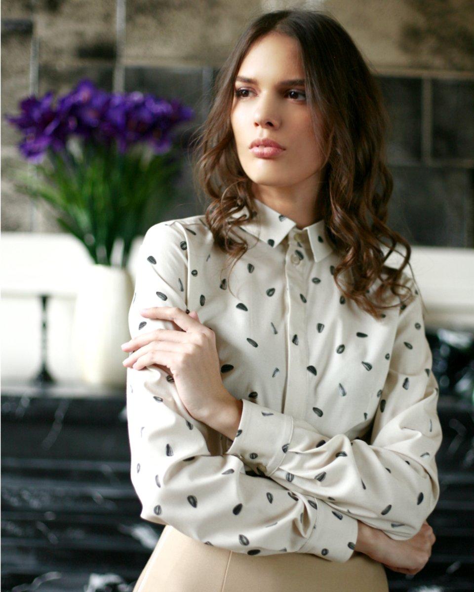 """Классическая блуза с принтом """"Семена подсолнуха"""""""