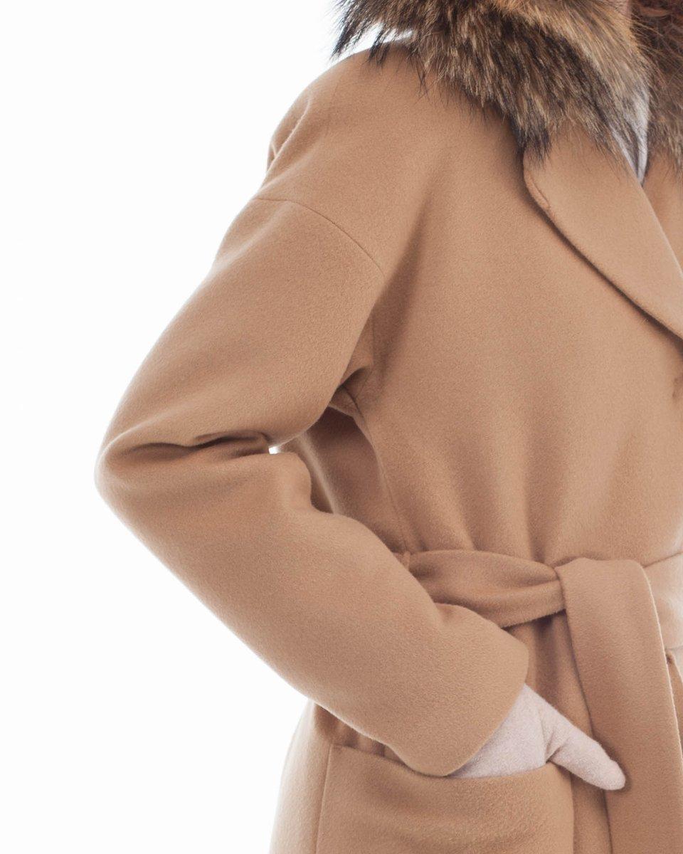 Пальто прямого силуэта, бежевое