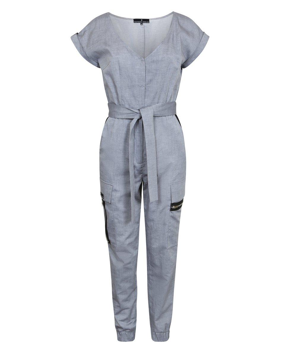 Комбинезон с накладными карманами, серого цвета