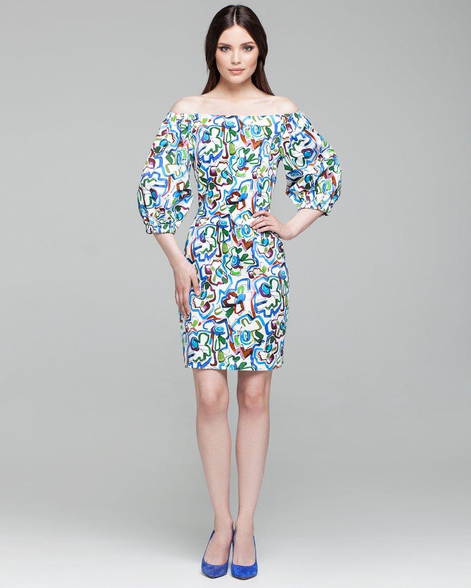 Короткое платье с акварельным принтом