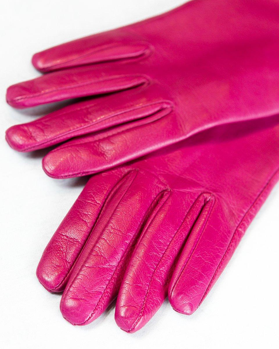 Кожаные перчатки цвета фуксии