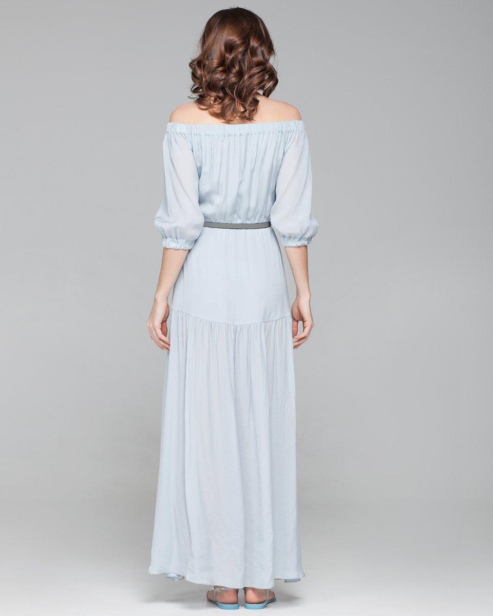 Легкое платье в пол с открытой линией плеч