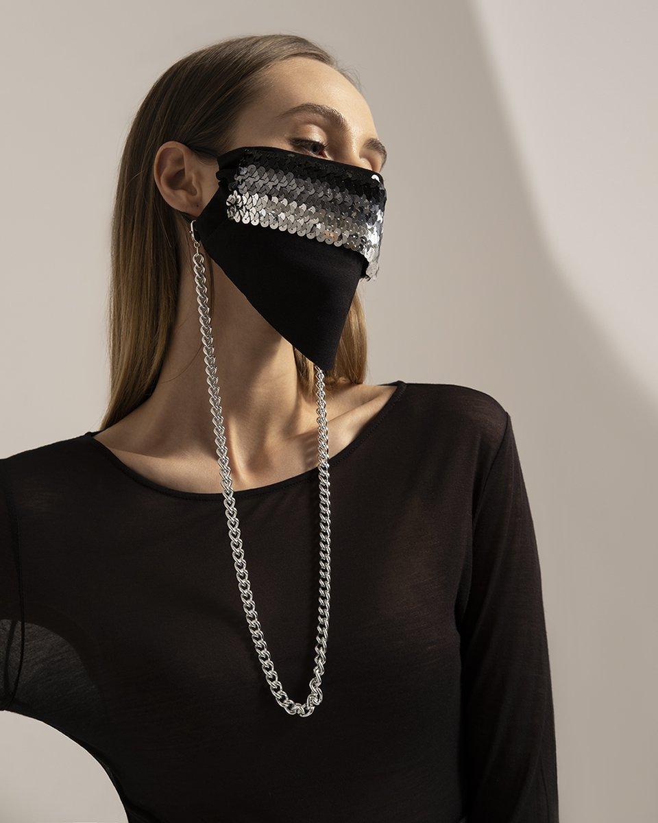 Многоразовая маска с лентой из пайеток серебряного цвета