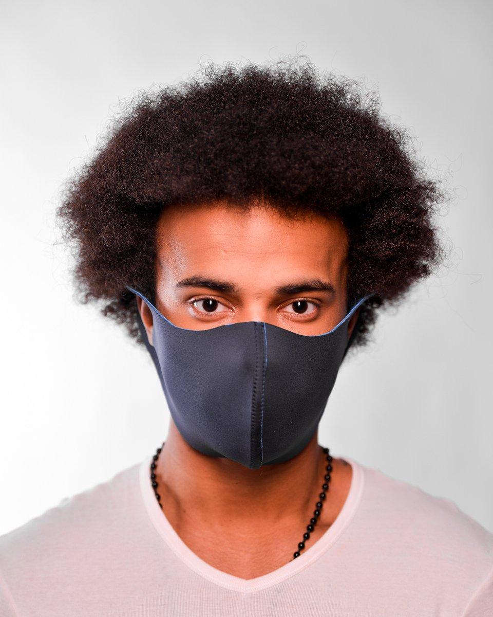 Мужская многоразовая маска сине-голубого цвета