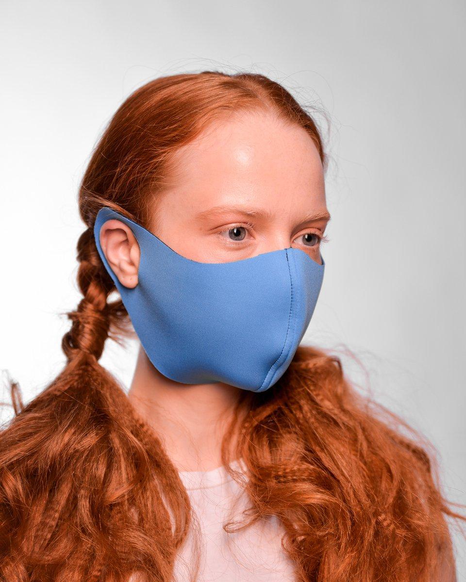 Многоразовая маска сине-голубого цвета