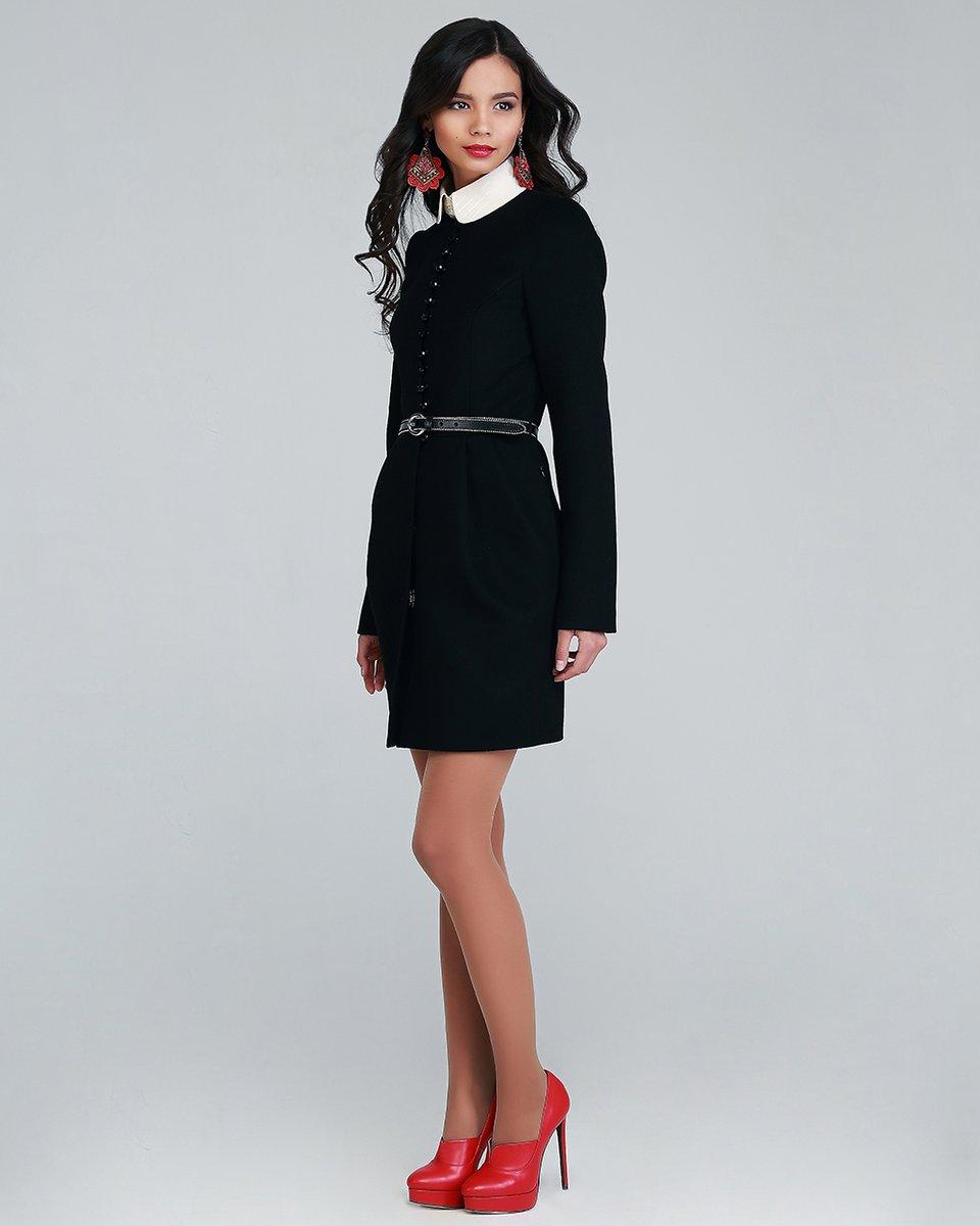Пальто Бутон с бусинами, цвет черный