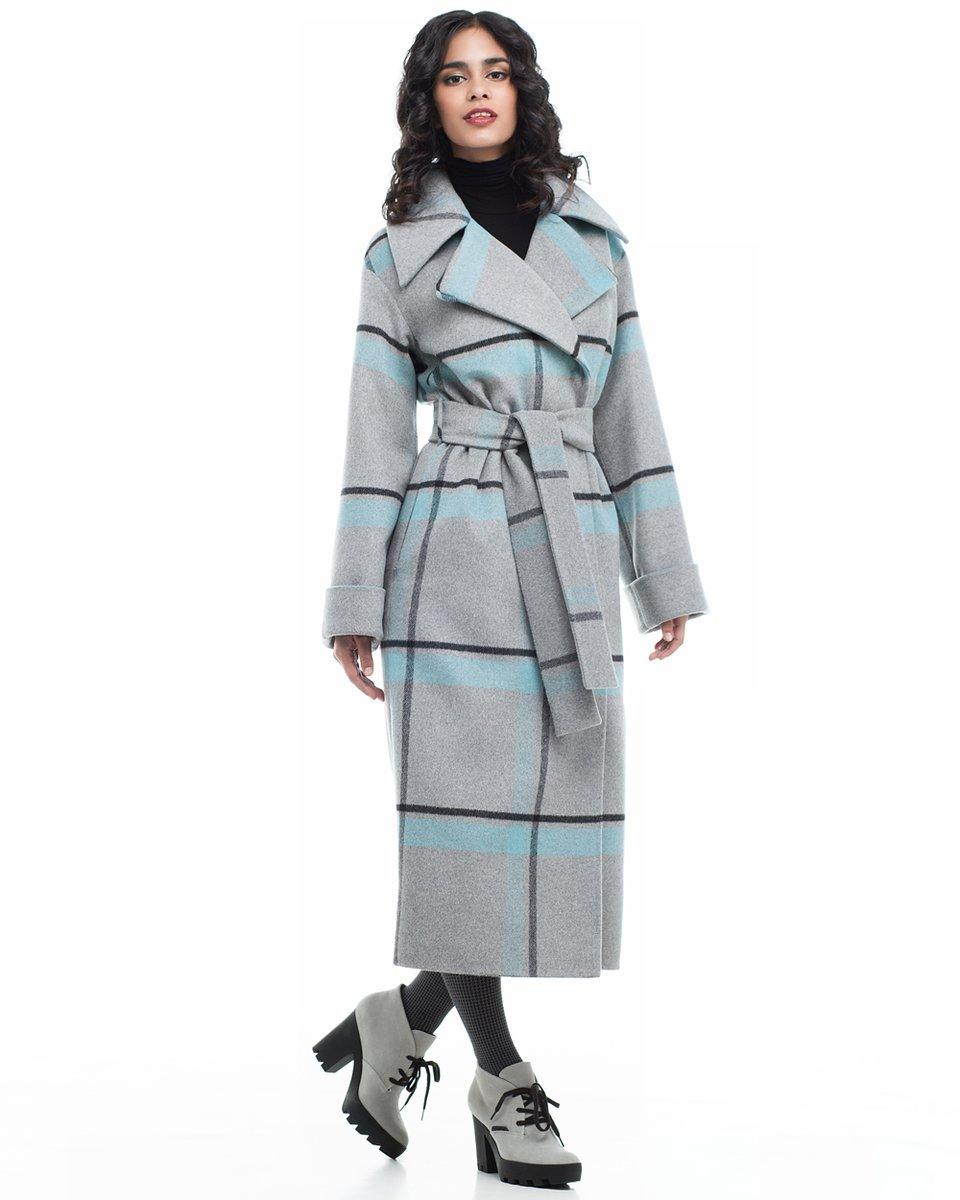 Длинное пальто в крупную клетку