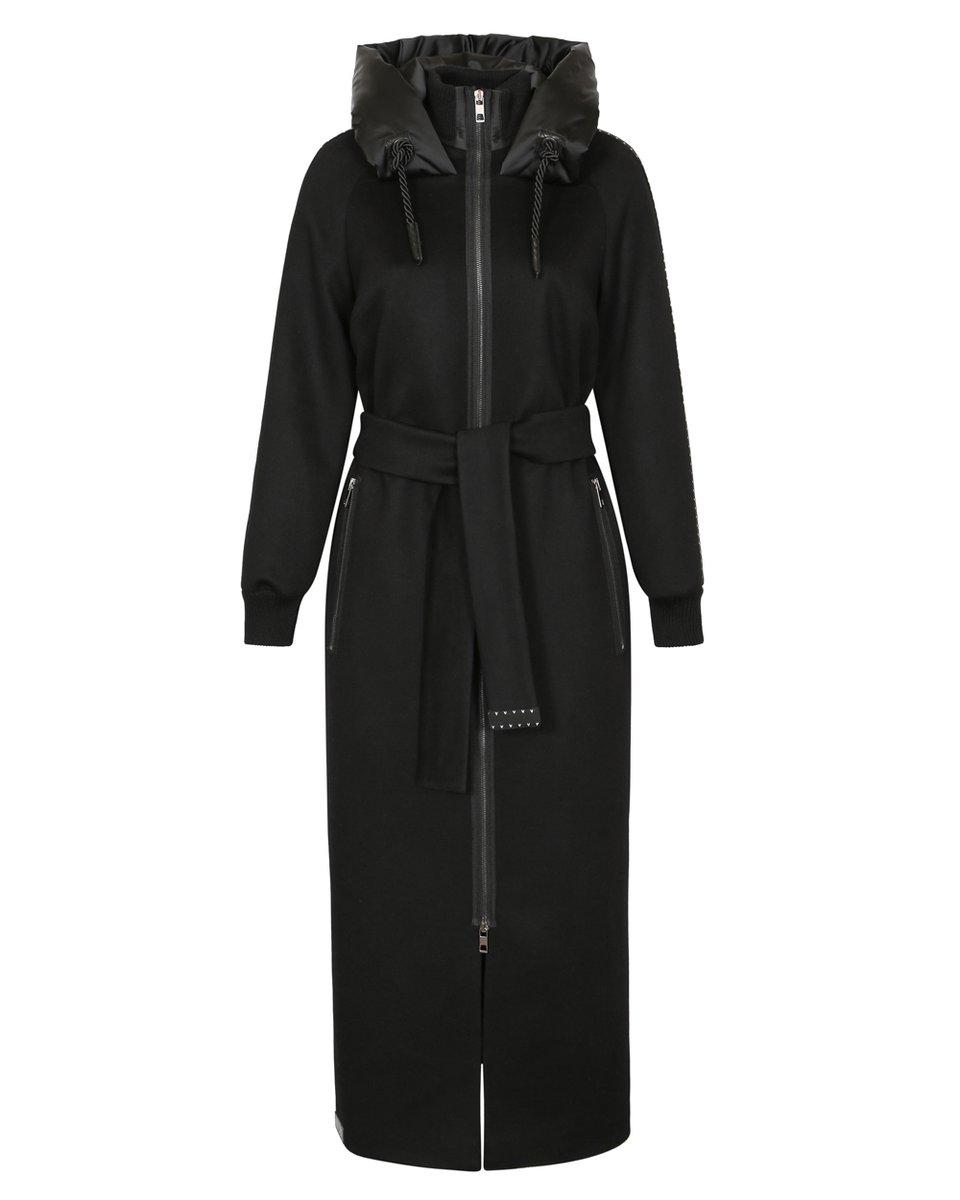 Зимнее пальто длины макси с капюшоном