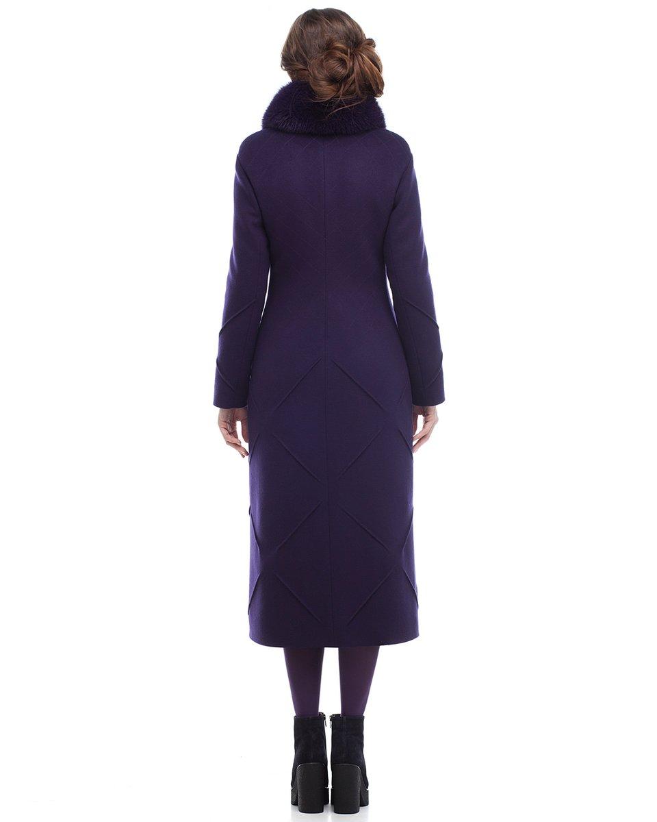Пальто длины миди с декоративными элементами на юбке