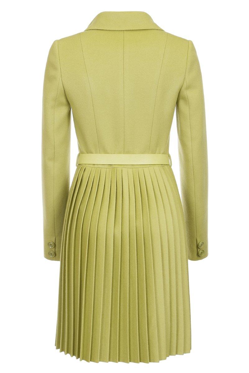 Пальто двубортное с плиссированной юбкой, зеленое