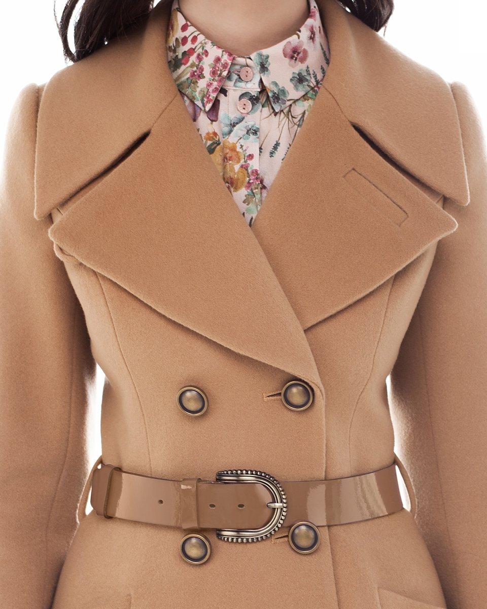 Пальто-двубортное с юбкой солнце, бежевого цвета