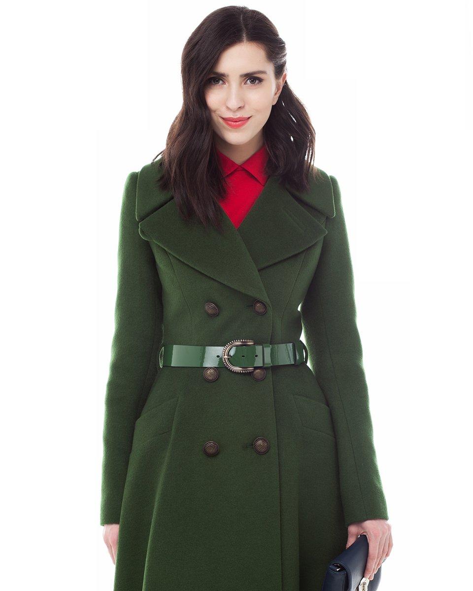 Пальто-двубортное с юбкой солнце, зеленого цвета