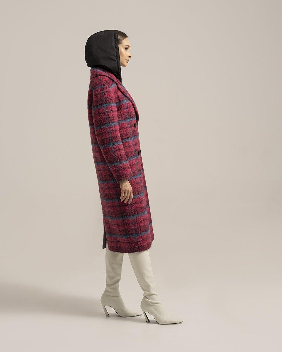 Шерстяное пальто в клетку с капюшоном