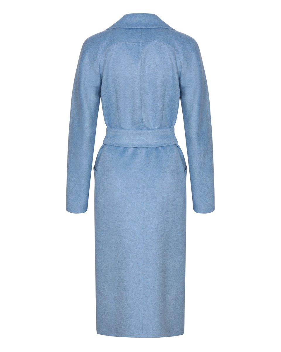Пальто голубого цвета с удлиненным лацканом