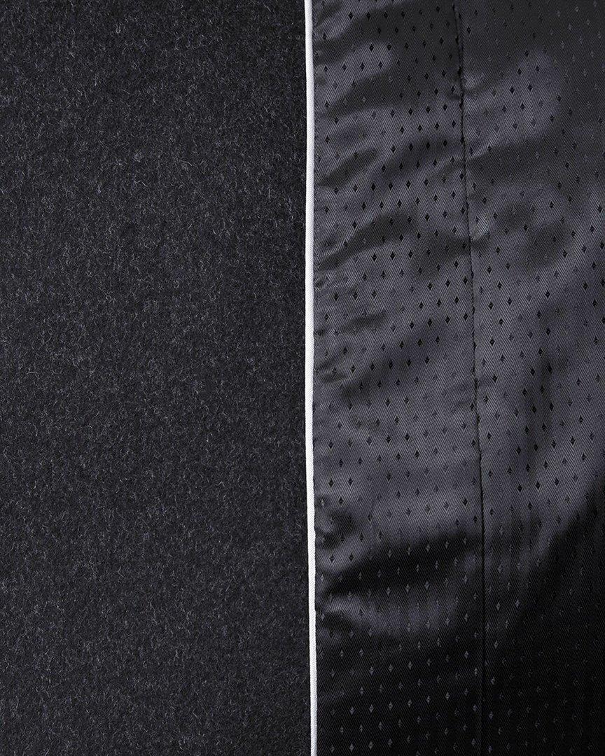 Зимнее пальто графитового цвета с косой молнией