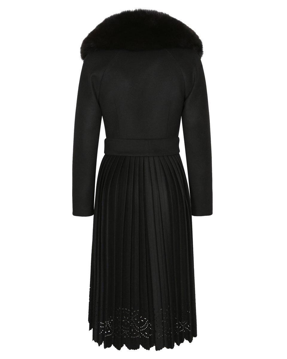 Зимнее пальто с ажурной юбкой плиссе, черного цвета