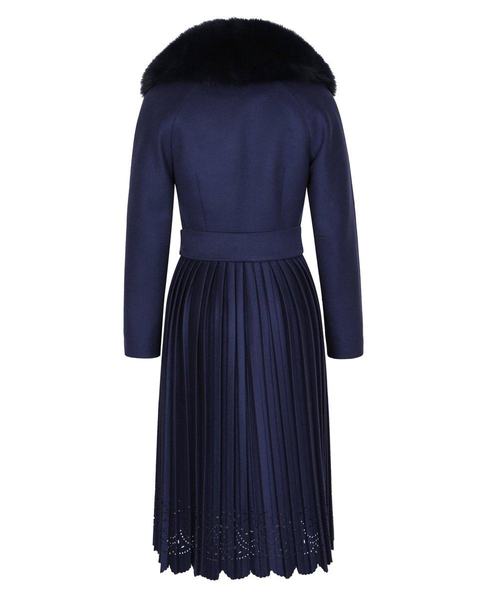 Зимнее пальто с ажурной юбкой-плиссе