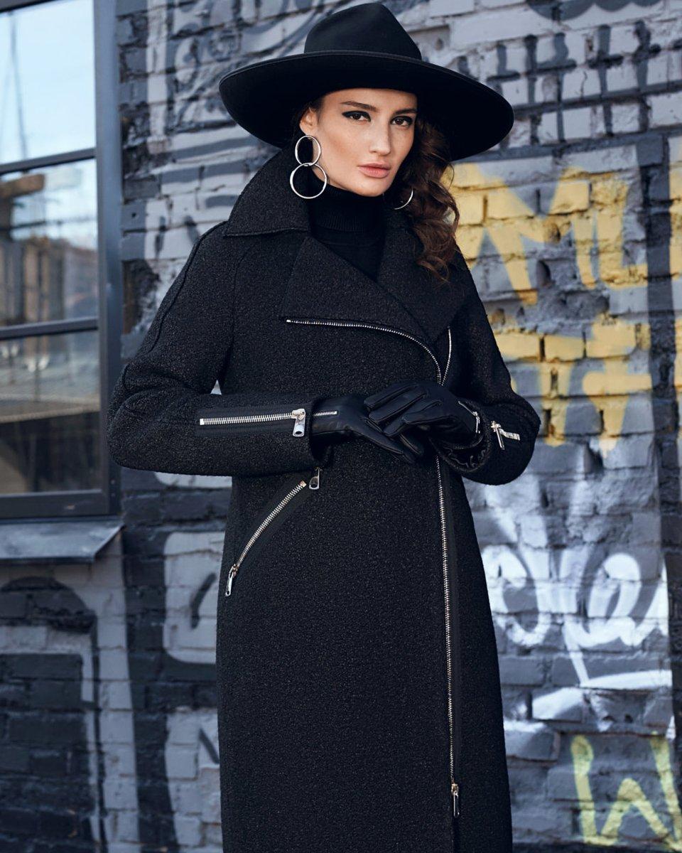 Пальто с молниями, из фактурной шерсти с напылением
